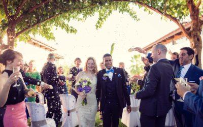 Garden wedding with spectacular views